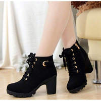 2017 New Autumn Winter Women Boots High Quality Solid Lace Up European Ladies Shoes PU Fashion