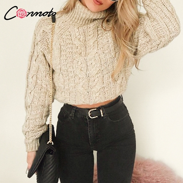 Conmoto Casual Winter Knitted Women Sweaters Turtle Neck Short Sexy Pullovers Vintage Sweater Knitwear High Fashion Jumpers