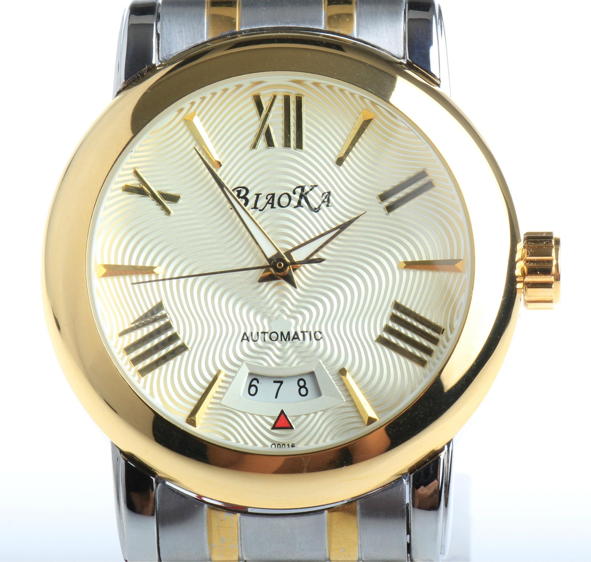 2016 NEWEST BIAOKA watch large dial male watch blue glass waterproof calendar automatic mechanical watch relogio