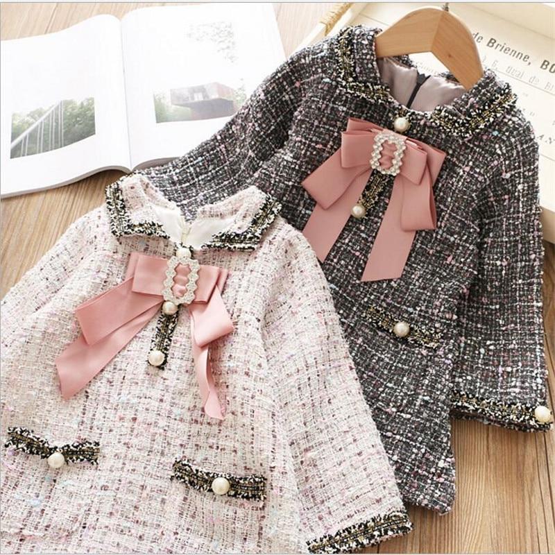 Kids Plaid Dress Girls Toddler Winter Pocket Bow Pearl High-Grade