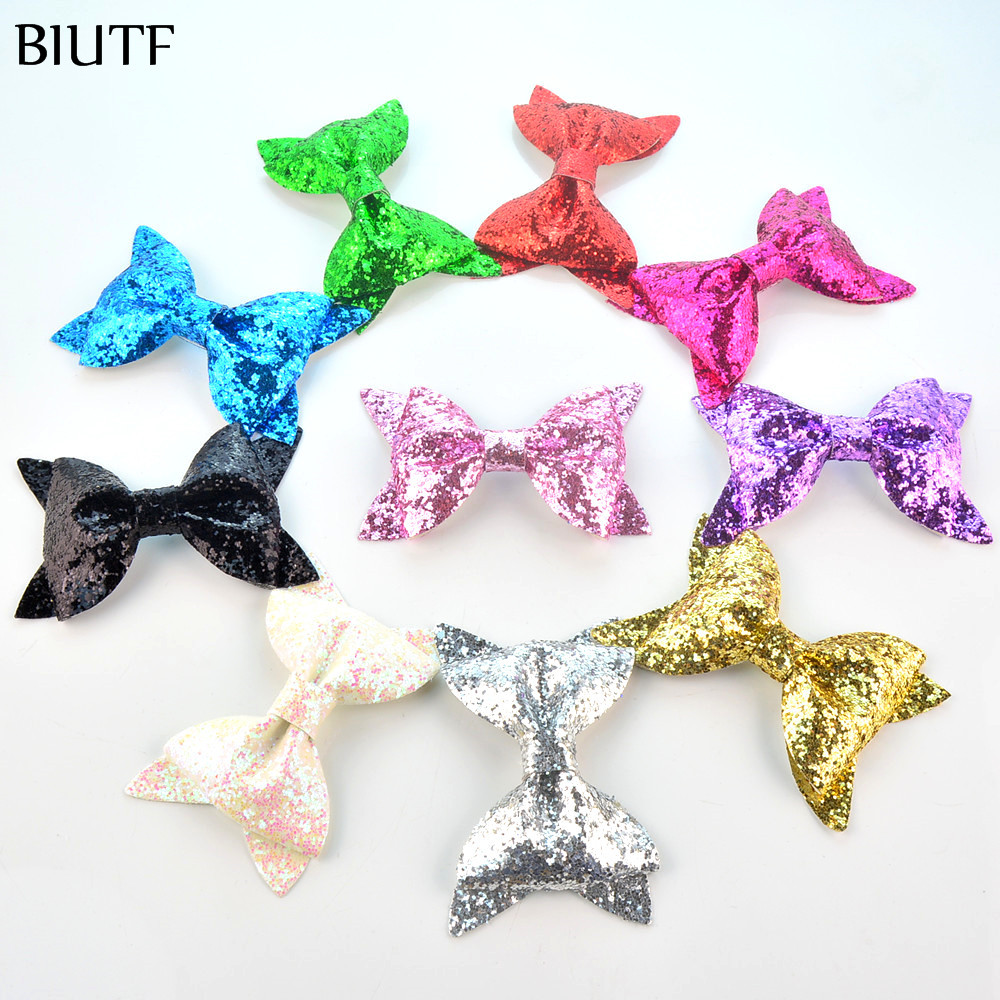 50pcs/lot Beautiful 4*2.4 Large Leather Sequin Glitter Bow Knot Newborn Girl Hairband Hairpin Gift Wrapping Accessories HDJ110