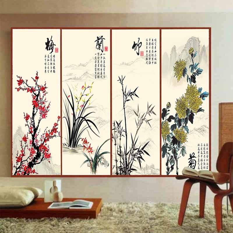 film de verre opaque personnalise de style chinois autocollant de porte coulissante miroir verre salle de bains fenetre translucide chrysantheme