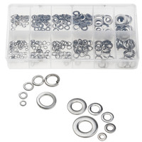 350PCS Stainless Steel Flat Spring Washers Set Metric M3 M4 M5 M6 M8 M10 Assorted Durable