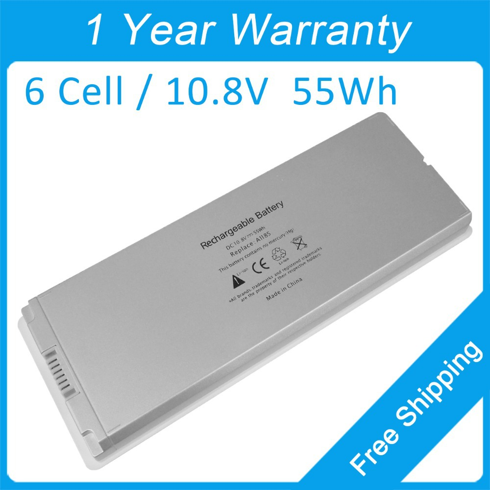 White Laptop Battery A1185 A1181 MA561 MA566 For Apple MacBook 13