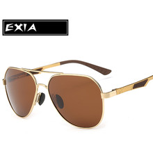 Gold Color Frame Sunglasses Men Polarized Brown TAC Lenses Anti-reflective Coating Blue EXIA OPTICAL KD-8125 Series