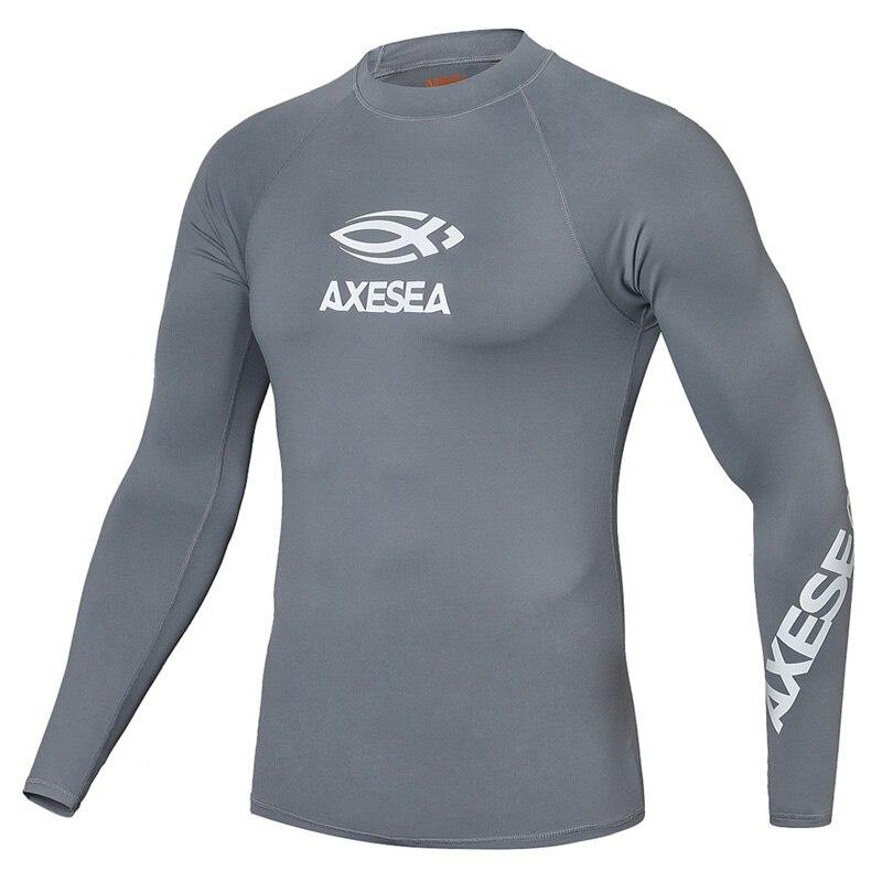 44a8e694b1 AXESEA Men Swimsuit Long Sleeve Rashguard Sun Protection Swimwear UV Solid Surfing  Shirt Top UPF50+ Rash Guard Swimming Suit-in Rash Guard from Sports ...