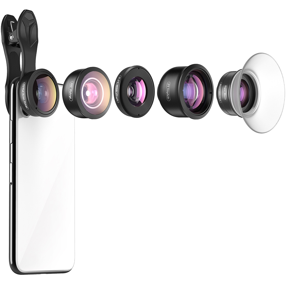 APEXEL 5 dans 1 Kit Téléphone Appareil Photo HD 4 k Grand Angle Télescope super Fisheye Marco Téléphone Lentilles pour iphone Samsung Xiaomi Huawei