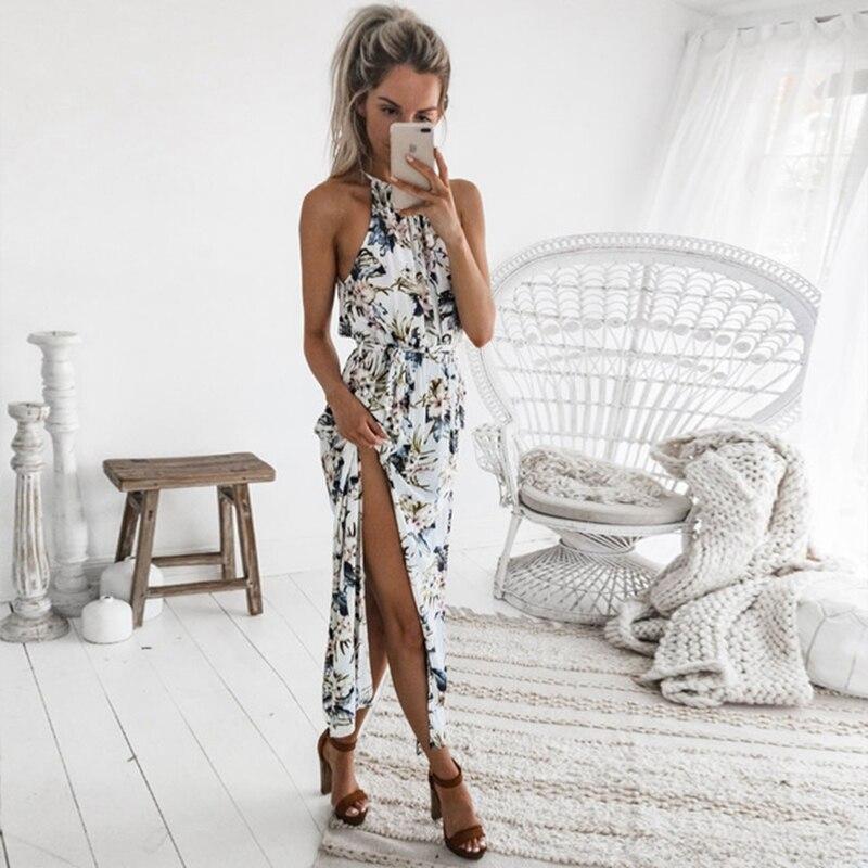 2018 Boho Floral imprimir Halter vestido largo mujeres Sexy Backless verano playa Maxi Vestidos Mujer Casual Vestidos