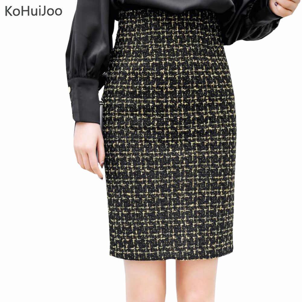 58bb3473f9ee KoHuiJoo 2019 осень зима Goldn Лоскутная твидовая юбка для женщин тонкий  высокая талия карандаш шерсть юбки