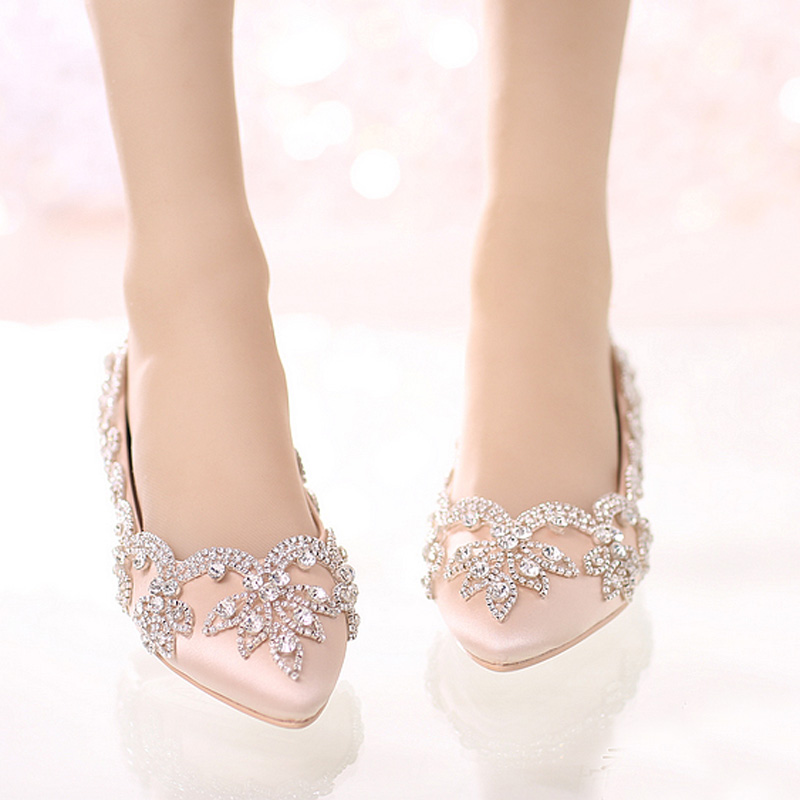 Champagne Satin Bridal Wedding Dress Shoes Flat Heel Pointed Toe Formal Dress ShoesLady Party Prom Dancing Shoes Rhinestone 2016 white pearl 4 inches stiletto heel bridal dress shoes formal dress high heels pointed toe wedding banquet party prom shoes