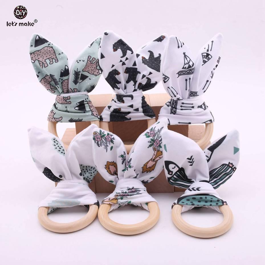 Laten We Tandjes Ringen Bunny Oor Konijn Bijtring Ring Voor Baby/stof Houten Bijtring Crinkle Materiaal Binnen /zintuiglijke Speelgoed