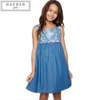 HAYDEN Girls Paisley Dress Girl Denim Sundress Cotton Bohemian Beach 2017 Summer Girls Embroidery Dresses Size 7 to 14 Years Old