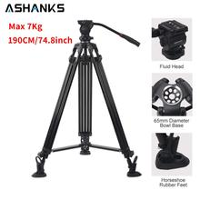 190CM/74.8inch Tripod Stand for DSLR Camera Studio Video Max 7kg Professional Holder with Fluid Head Compatible Manfrotto