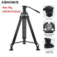 190CM/74.8inch Tripod Stand for DSLR Camera Studio Video Max 7kg Professional Holder with Fluid Head Compatible with Manfrotto