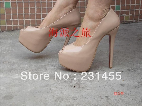 new arrive high heels wedding shoes bridal shoes platform pump leather pump 16cm Highness nude pumps red sole shoes