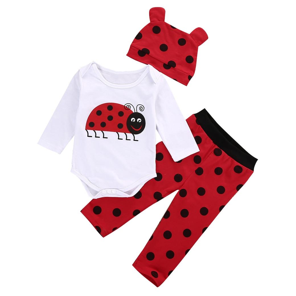 HOT SALE 3PCS Set Boys Girl Tops Rompers Long Pants Hat Outfit Clothes Colour: white Ladybugs Size:0-6 Months