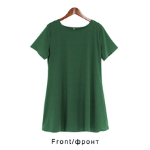 Women Vintage Dress Black Green Summer Dresses Fashion Casual Womens Clothing Solid Simple Short Sleeves Dress