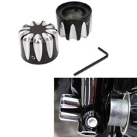 2X Black CNC Motorcycle Front Axle Nut Cover Screw Cap For Harley HD Touring FLHX FLHR