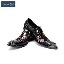 Bella Christia Dos Homens Novos de Luxo Impressão de Metal Apontou Toe Vestido de Noiva Sapatos de Couro Homens Preguiçosos Trabalho Carreira Sapatos para homens