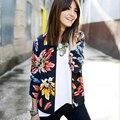 Chegada nova flor impresso magro mulheres manga comprida básica casacos plus size o pescoço fino mulheres jaqueta primavera e no outono 2016