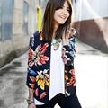 New arrival flower printed slim long sleeve  women basic coats plus size o neck thin womens jacket spring and autumn 2016