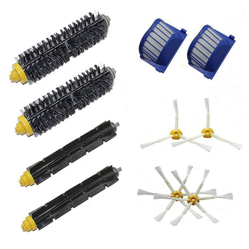 High Quality 2 Bristle & Flexible Beater &4 Armed Brush & 2 Aero Vac Filter for iRobot Roomba 600 Series 620 630 650 660 aero vac filter bristle brush flexible beater brush 3 armed side brush tool for irobot roomba 600 series 620 630 650 660