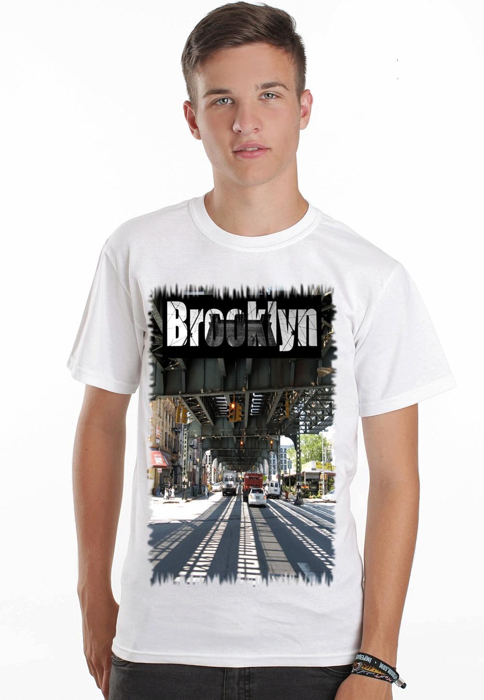 Brooklyn Bridge 3 Nyc Sexy Pin Up Model Full Color Mens T Shirt Dtg