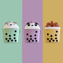 High quality three-dimensional cute fashion pearl milk tea cup silicone bluetooth wireless headset set Apples AirPods box Fundas(China)