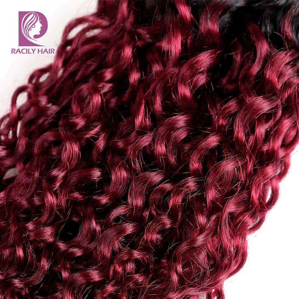 Racily волосы 1/3/4 шт. эффектом деграде (переход от темного к перуанские пучки волос T1B/бордовый кудрявые волосы плетение пучки 99J красный Remy Пряди человеческих волос для наращивания