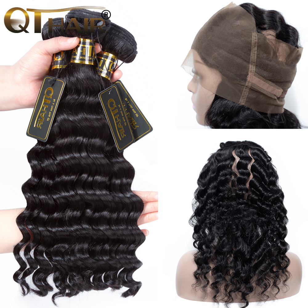 QT Hair Loose Deep Wave With 360 Lace Closure Human Hair Weave 3 Bundles With 360