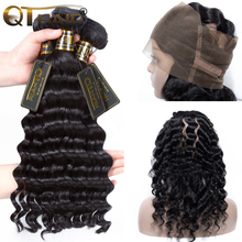 QT Hair Loose Deep Wave With 360 Lace Closure Human Hair Weave 3 Bundles With 360 Lace Frontal Non-remy Peruvian Hair Bunldes