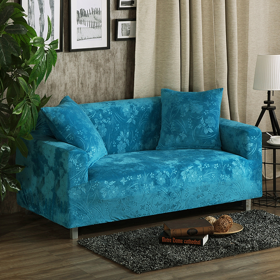 Slipcover Furniture Living Room: Blue Embossing Stretch Sofa Cover Single Double Three Four