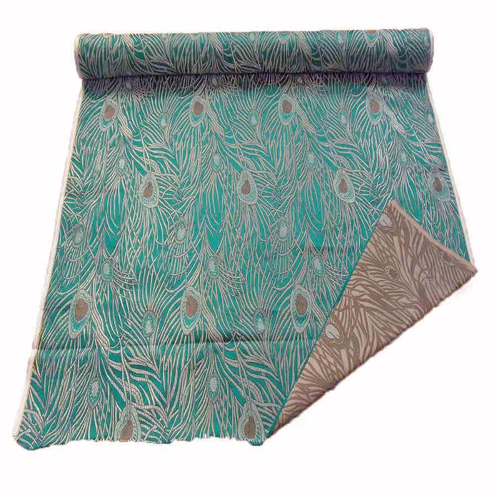 Chinese Brocade Light Upholstery Art Silk Fabric Material Nile Blue