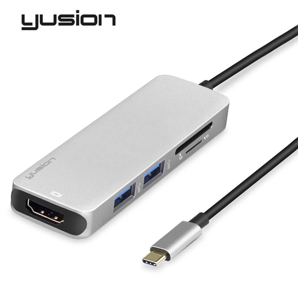 Yusion Type-C USB-C to HDMI Adapter HD 4K 1080P with USB3.0 SD/TF Card Slot HUB Converters For macbook Huawei book Laptop
