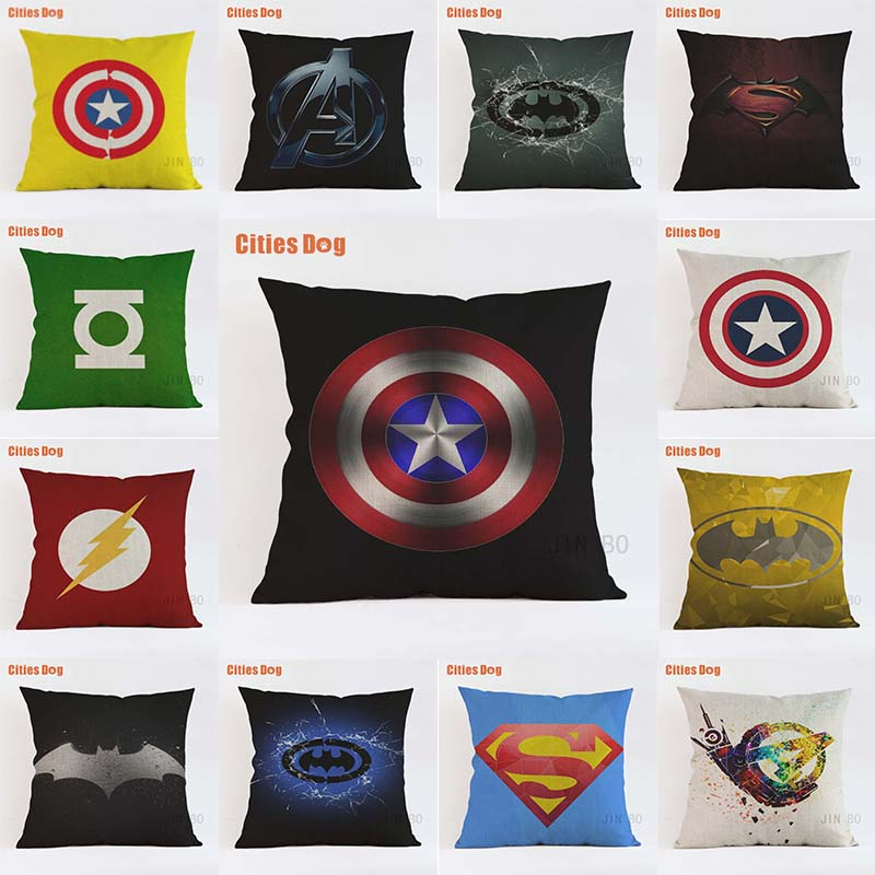 American Pop Style Super Heros Cushion Cover Captain America Superman Iron Man Batman Pillow Covers Sofa Chair Linen Pillow Case