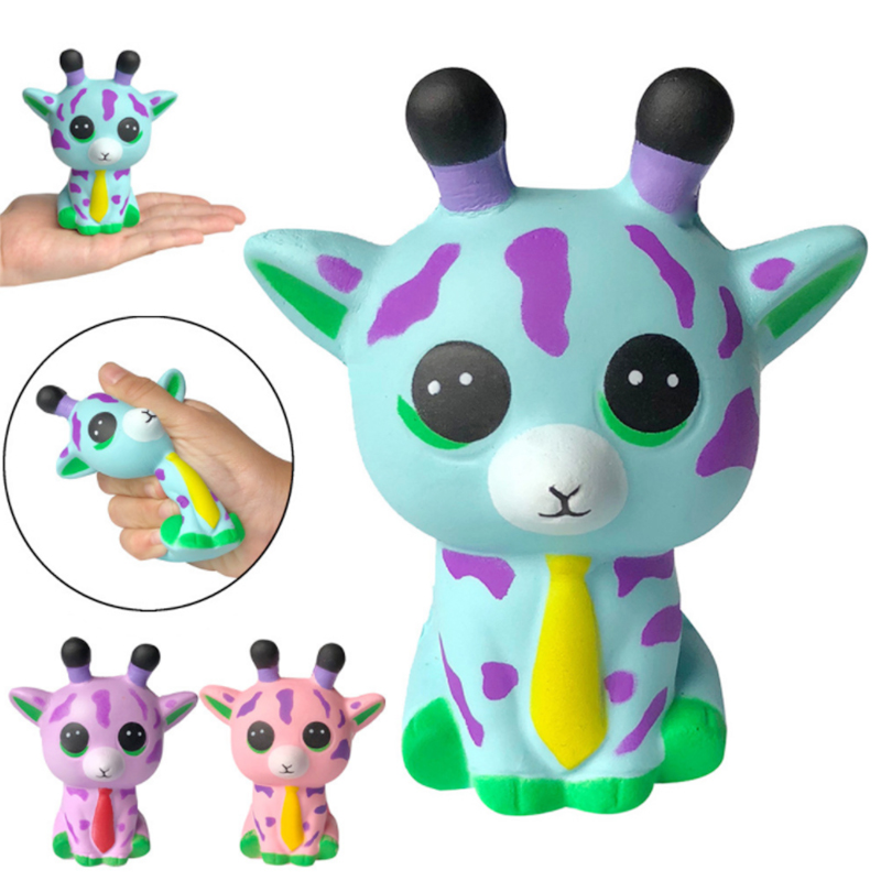 New Cute Tie Sika Deer Squishy Creative Simulation Animal Doll Squeeze Toy Slow Boost Stress Relief Fun For Kid Xmas Gift