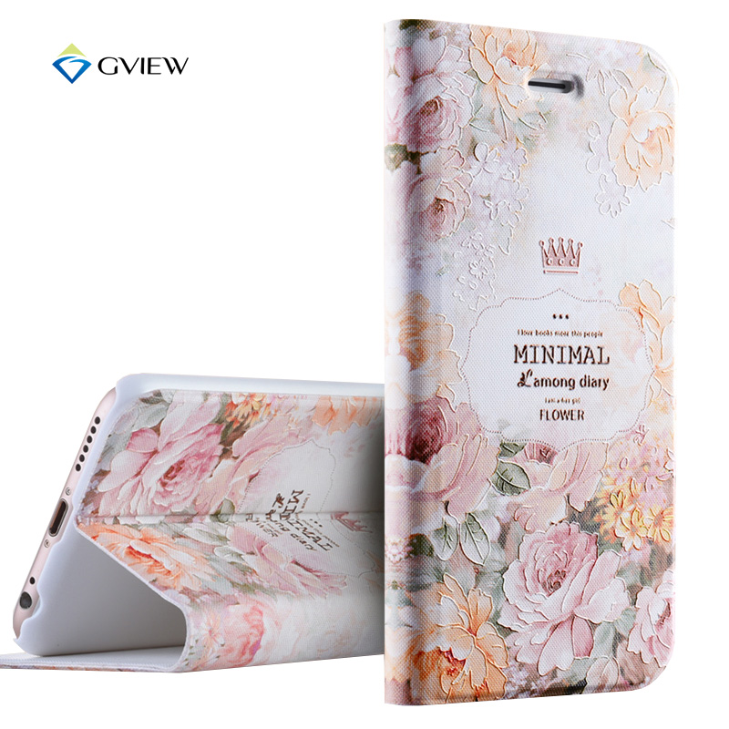 Gview 6 6S Case 4 7 inch Luxury PU Leather 3D Relief Printing Stereo Flip Cover