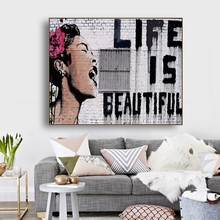 Life is Beautiful by Banksy Wall Art Decor Canvas Painting Calligraphy Poster Print Decorative Picture Living Room Home