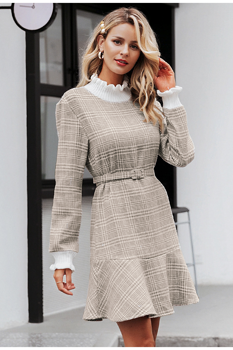 Simplee Elegant plaid dress women Turtle neck knitted short dress female Ruffle sashes vintage autumn office ladies vestidos 8