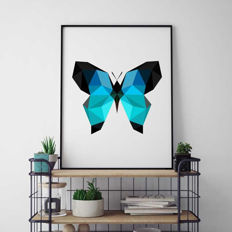 Triangle Polygonal Butterfly Wall Art Print Pictures , Abstract Geometric Butterfly  Poster Canvas Painting Home Decoration