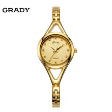 Free Shipping Grady New Arrival lady fashion wristwatch 3 ATM water resistant 18k Gold Quartz Plated women dress watch