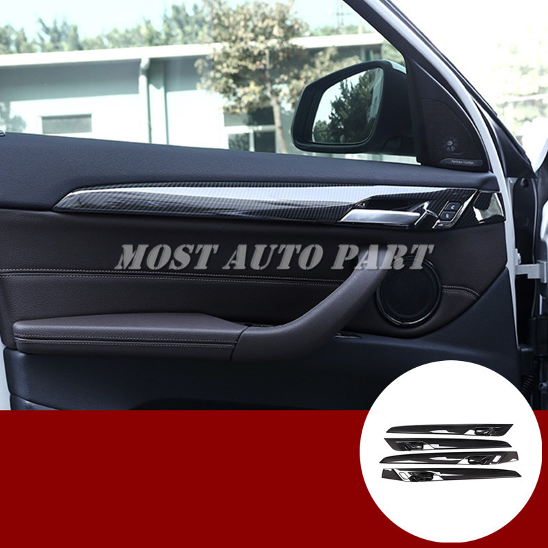Garniture de couverture de panneau de porte de voiture de Style de Fiber de carbone d'abs 4 pièces pour BMW X1 F48 2016-2019