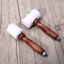 1pcs Leather Carve Hammer Printing Tools Nylon Hammers Carved DIY Manual Leather Ling Chop Wooden Handle Cylindrical new sew leather cowhide tool kit wooden handle nylon hammer leather craft carving hammer wxv sale