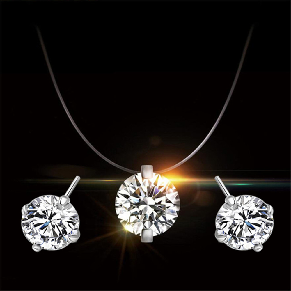 100% Silver 925 AAA Jewelry Sets for Women Fishing Line Zircon Pendant Necklace and 4-Claw Stud earrings Set