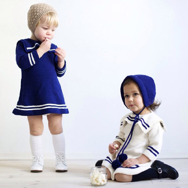 2016 New Sweater Girls Dress For Girls Navy Style Knitted Kids Navy Style Clothes Sweater Knee-length Baby Brand Costume Dress
