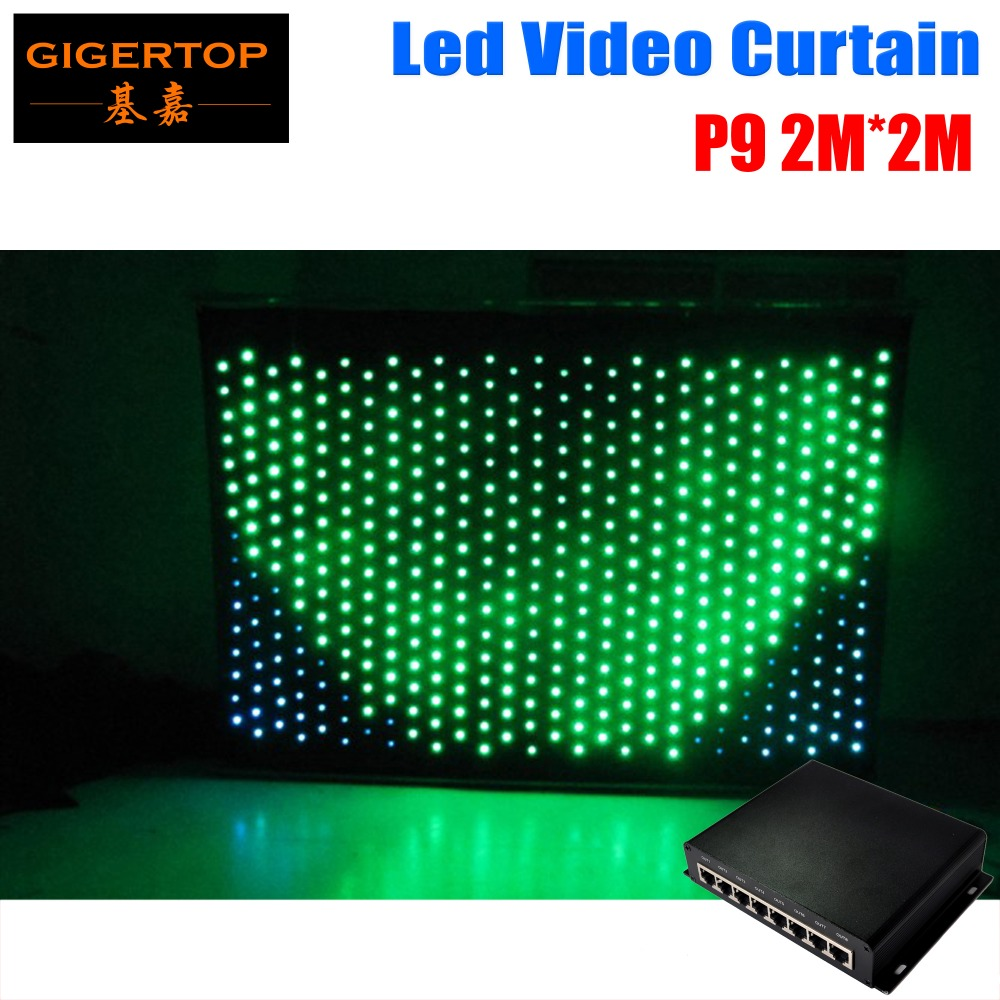 Freeshipping <font><b>P9</b></font> 2M*2M <font><b>LED</b></font> Video Curtain PC Mode RGB 3in1 For DJ Wedding Backdrops,<font><b>LED</b></font> Vision Curtain Stage Light DMX Controller