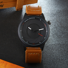 New Design camera lens dial Genuine Leather BGG Luxury Brand Casual Men's Watches