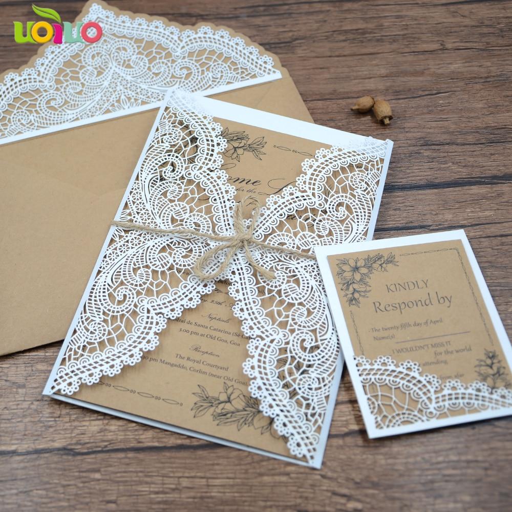 50sets unique lastest vintage kraft laser cut wedding favor fancy invitation card design with