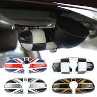 Union Jack Interior Rearview Mirror Cover Cap Shell ABS Plastic Decor For BWM MINI Cooper JCW