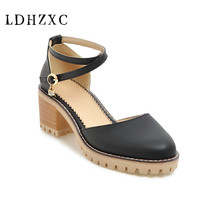 LDHZXC 2018 new women s flock ankle strap square high heels round toe solid shoes  woman casual 05af8f1093a8